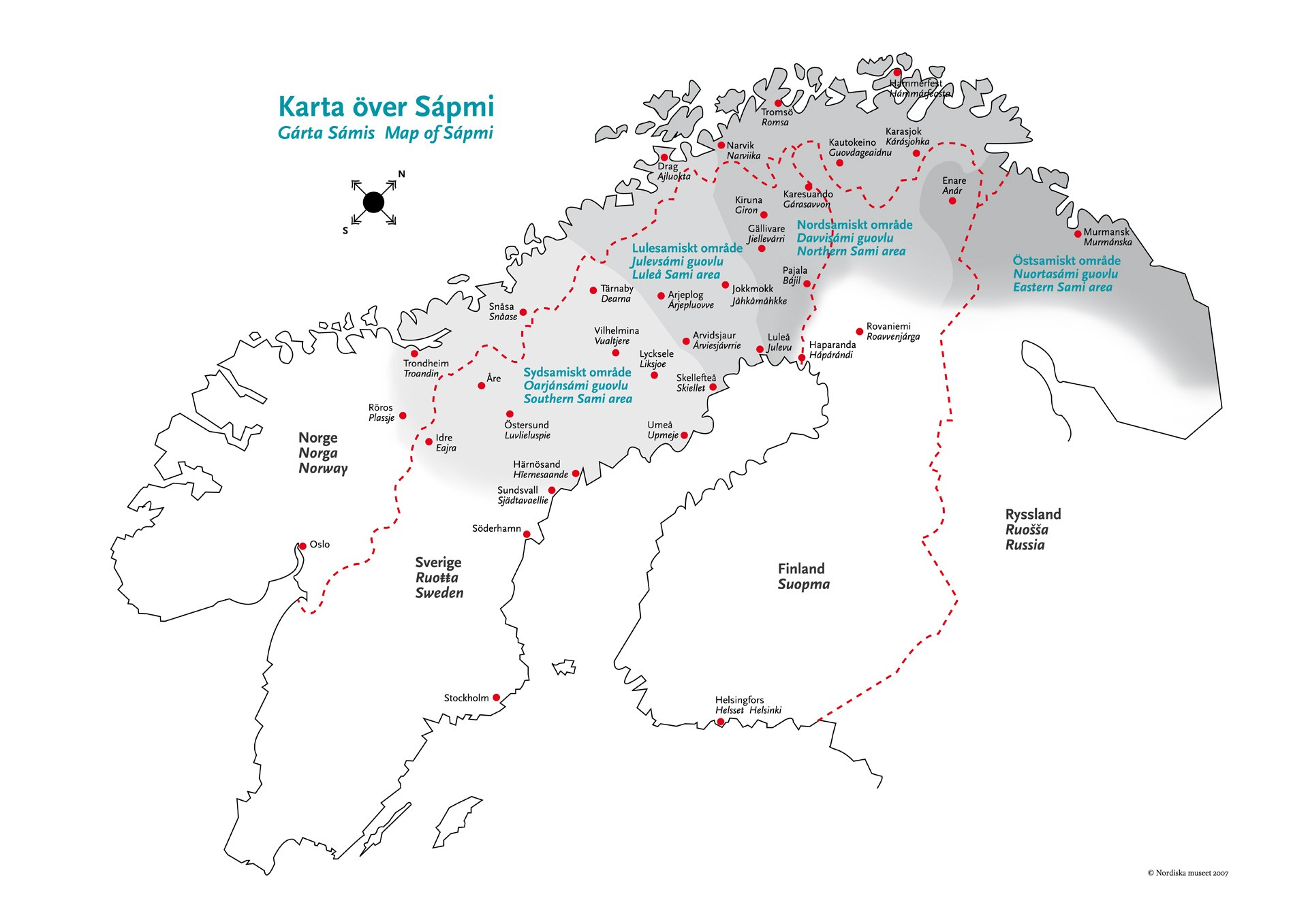 Sápmi, samernas land, fanns innan gränserna för Sverige, Norge, Finland och Ryssland hamnade på kartan. Det gör samerna till ett av världens urfolk. Det gör dem också till ett folk delat i fyra länder.