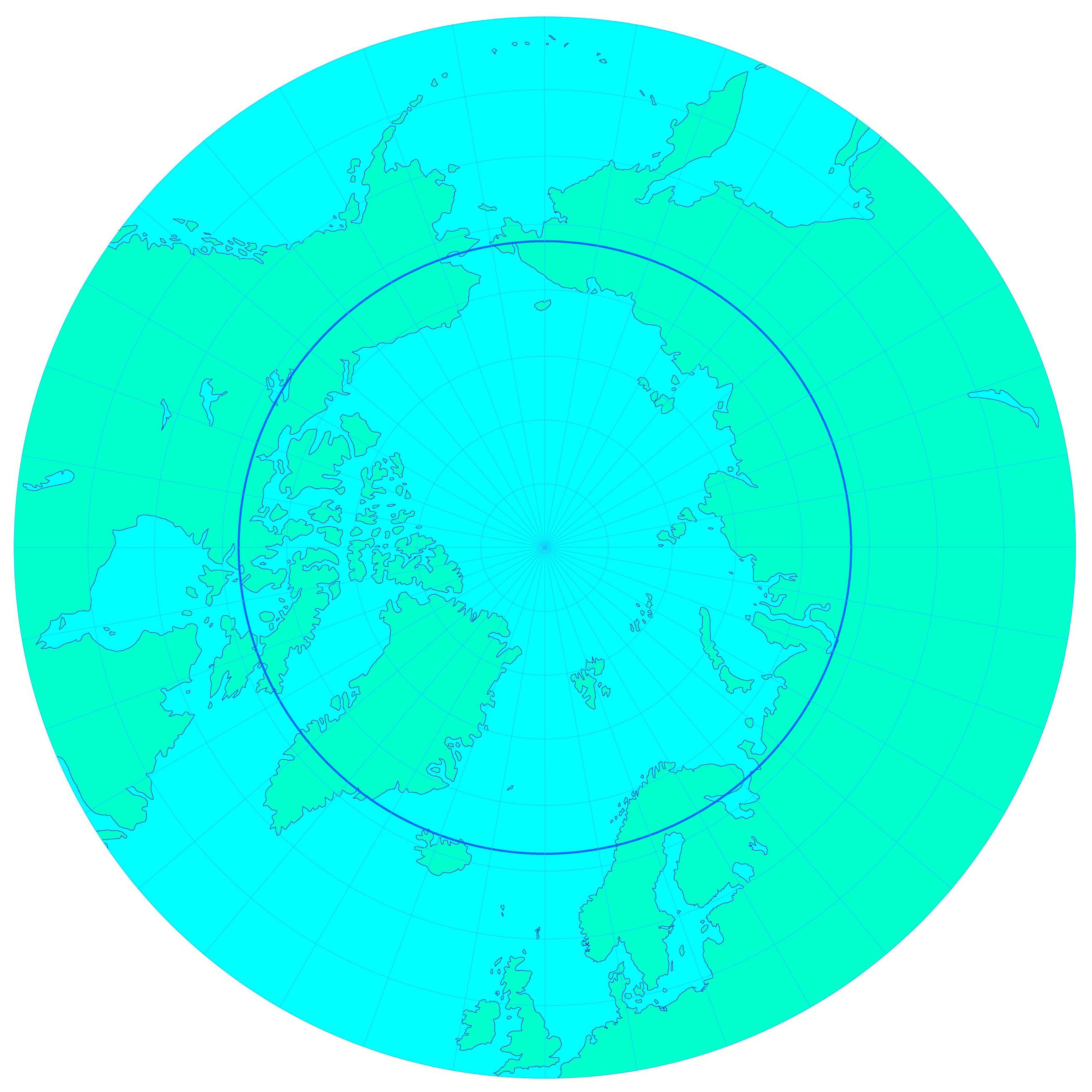 Karta över Arktis. Illustrerad av Serge Martynov.