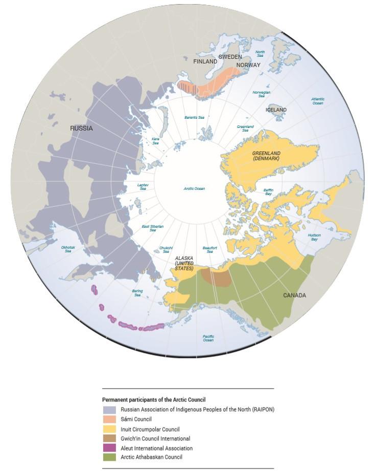 Karta över Arktis olika ursprungsbefolkning.