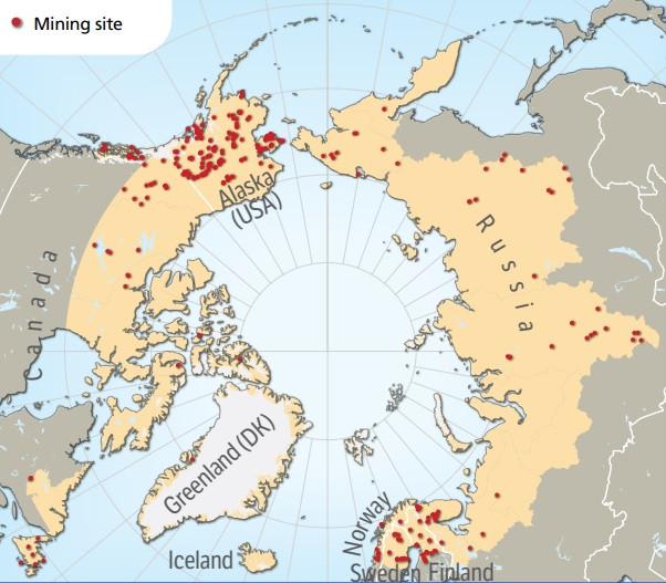 Illustration över gruvor i Arktis. Av Hugo Ahlenius, Nordpil.