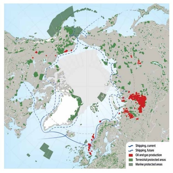Karta över Arktis transportvägar till havs, skyddade områden samt platser för produktion av gas och olja. Illustration av Hugo Ahlenius, Nordpil.