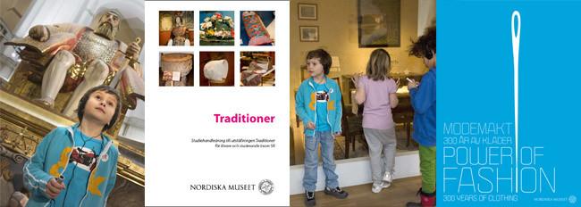 Fyra stycken bilder: bild ett föreställer en pojke som lyssnar på audioguiden vid statyn av Gustav Vasa, bild två  är framsidan på studiehandledningen för utställningen Traditioner, bild tre är foto på tre barn som lyssnar på audioguiden i en utställning och bild fyra är en affisch för Modemakt.