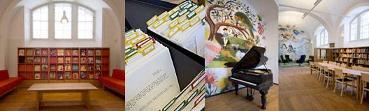 Fyra bilder som visar Biblioteket och Fatburens lokaler, första bilden visar soffor och en hylla med tidskrifter, andra bilden visar katalogkort, tredje visar en flygel och en väggmålning och den fjärde visar sittplatser för studier vilka består i stolar och långbord.