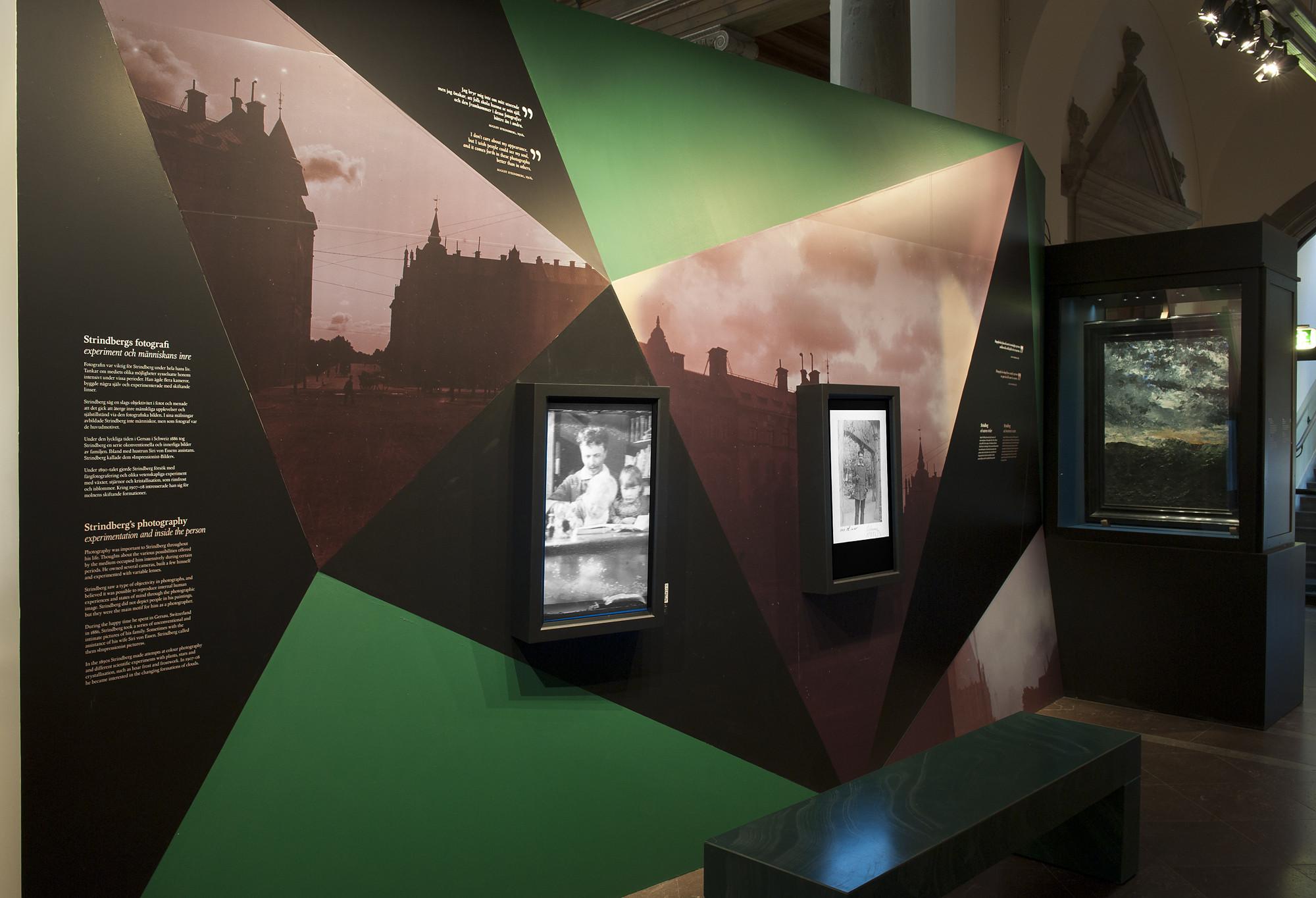 Utställningens avsnitt om fotografen Strindberg.