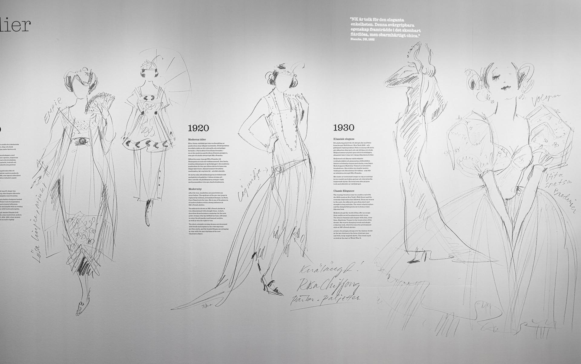 Modeskisser och text på en vit vägg