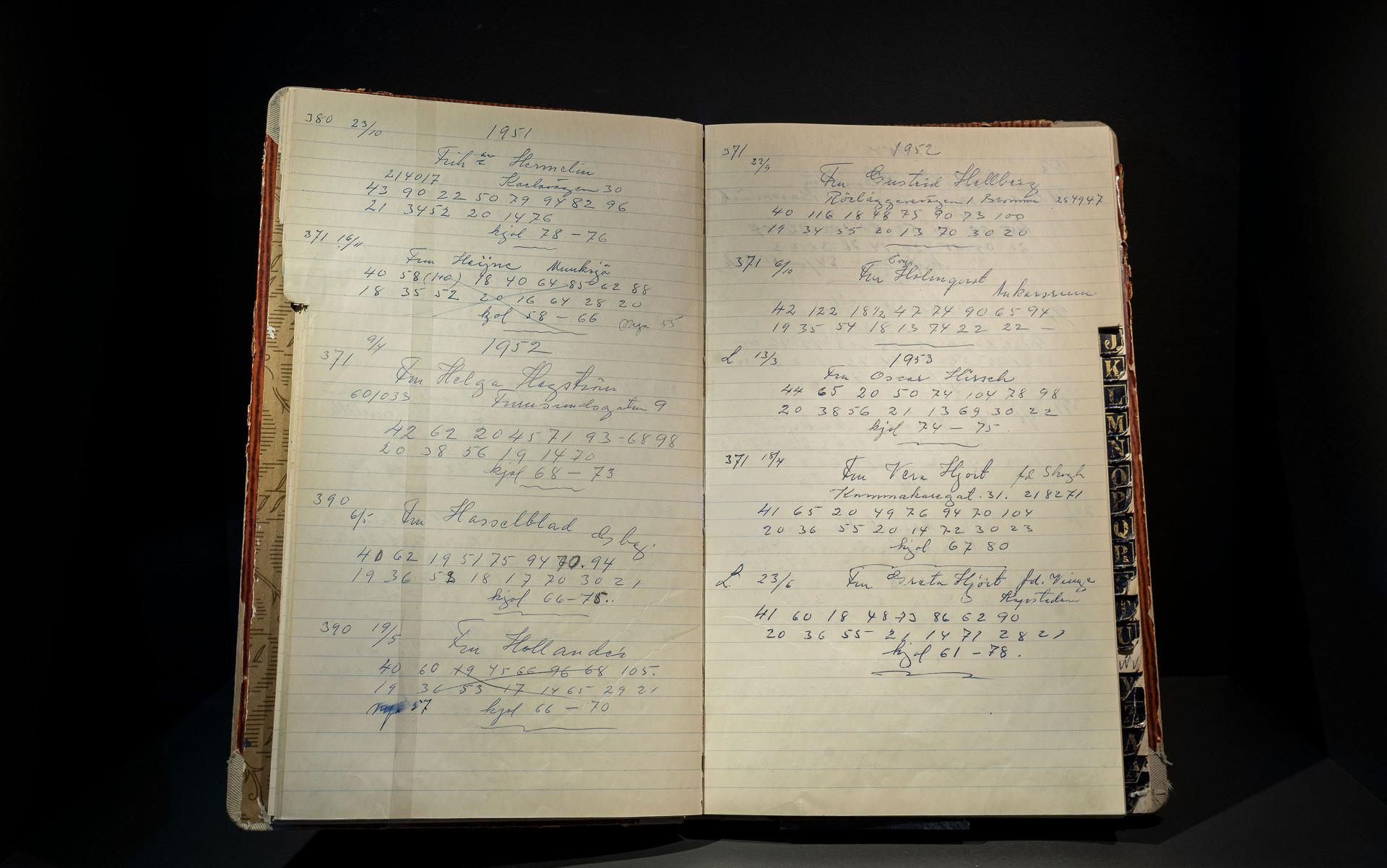 En uppslagen arbetsbok med anteckningar från en sömmerska, det står olika kunders namn och utförda arbetstimmar antecknat med vacker snirklig handstil.