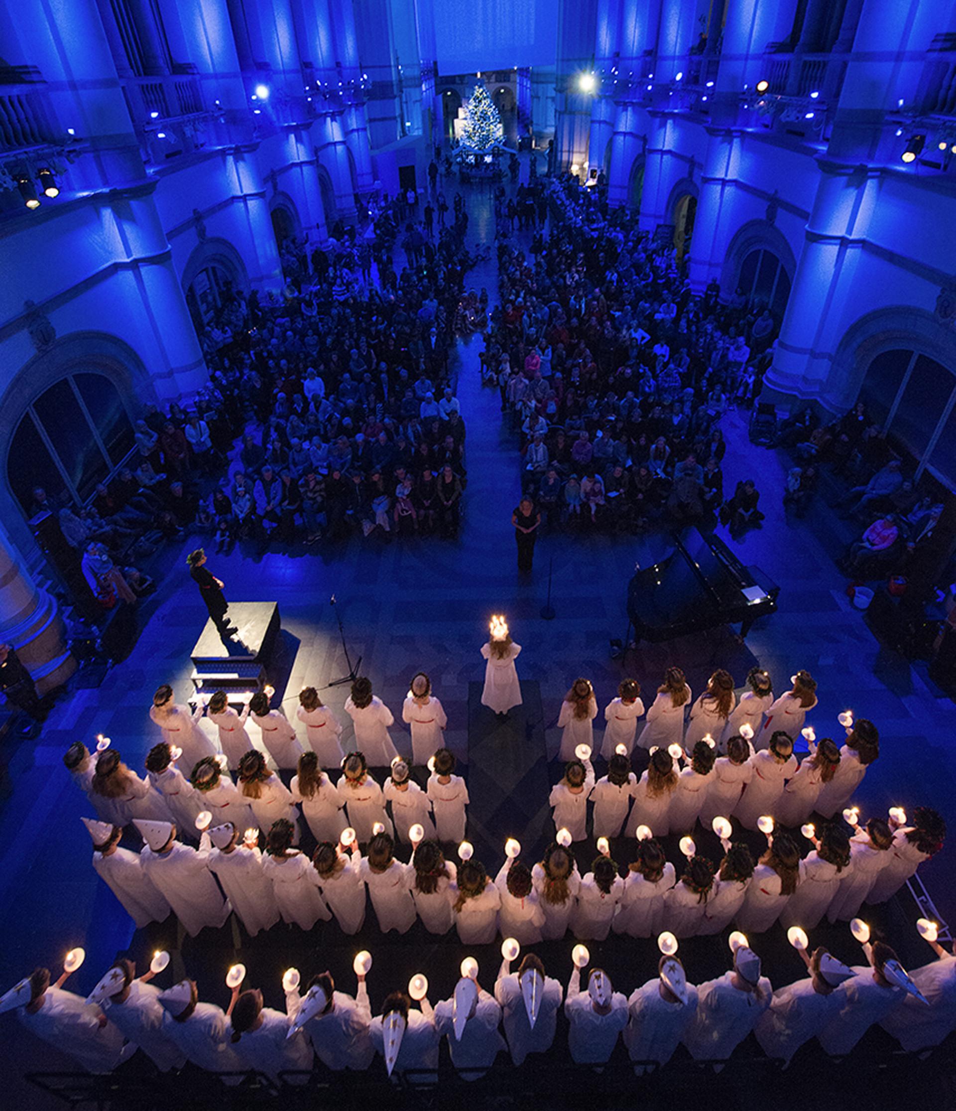 Luciakonsert med Adolf Fredriks musikklasser. Foto: Peter Segemark/ Nordiska museet