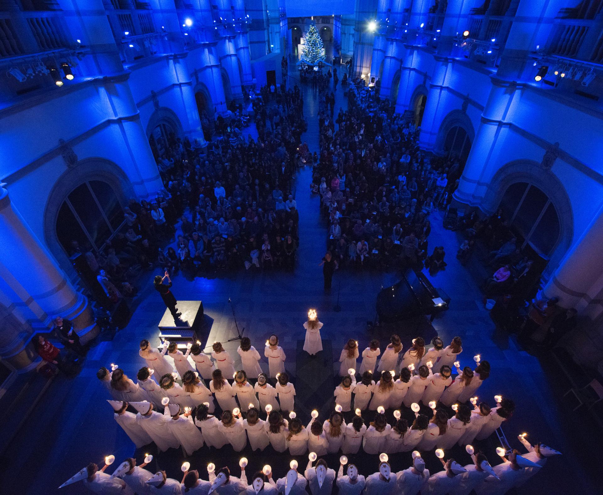 Luciakonsert på Nordiska museet. Foto: Nordiska museet