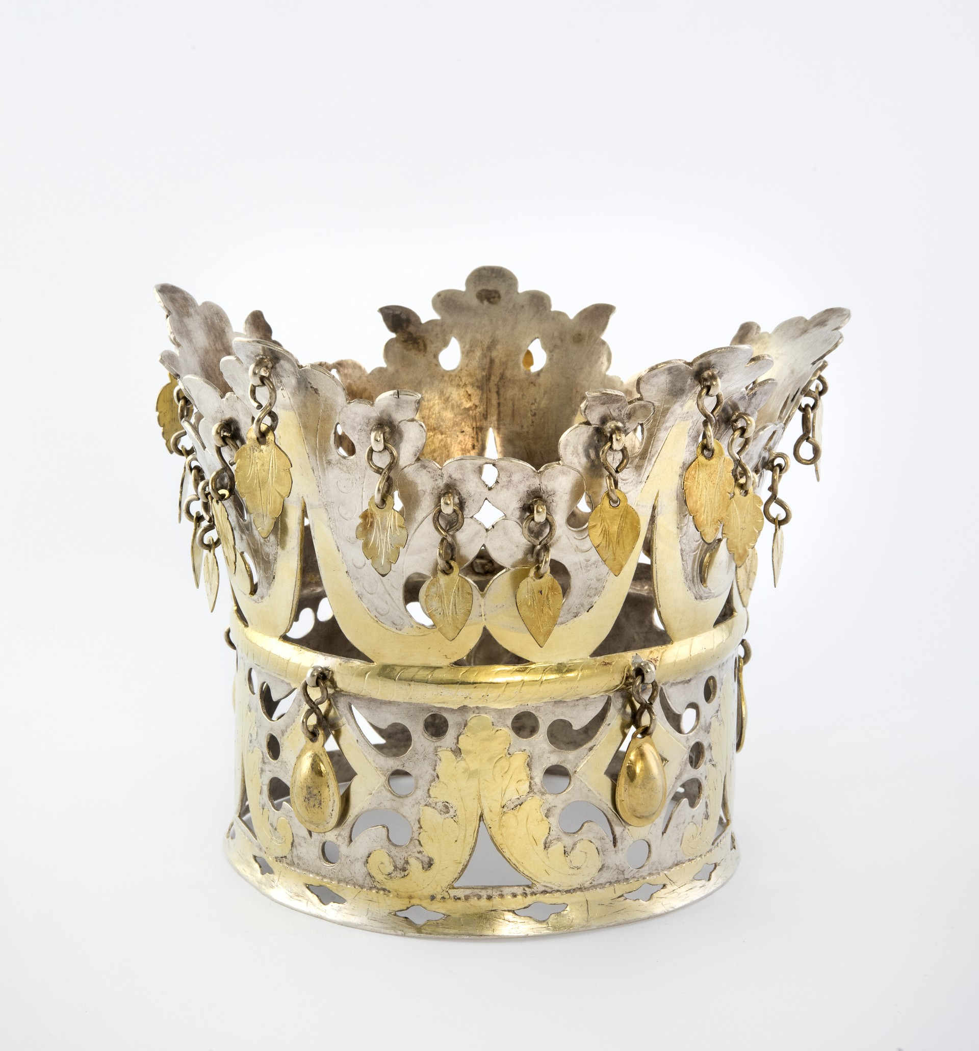 Sami bridal crown of parcel-gilt silver. Acquired by Nordiska museet 1912. NM.0119227. Photo: Nordiska museet