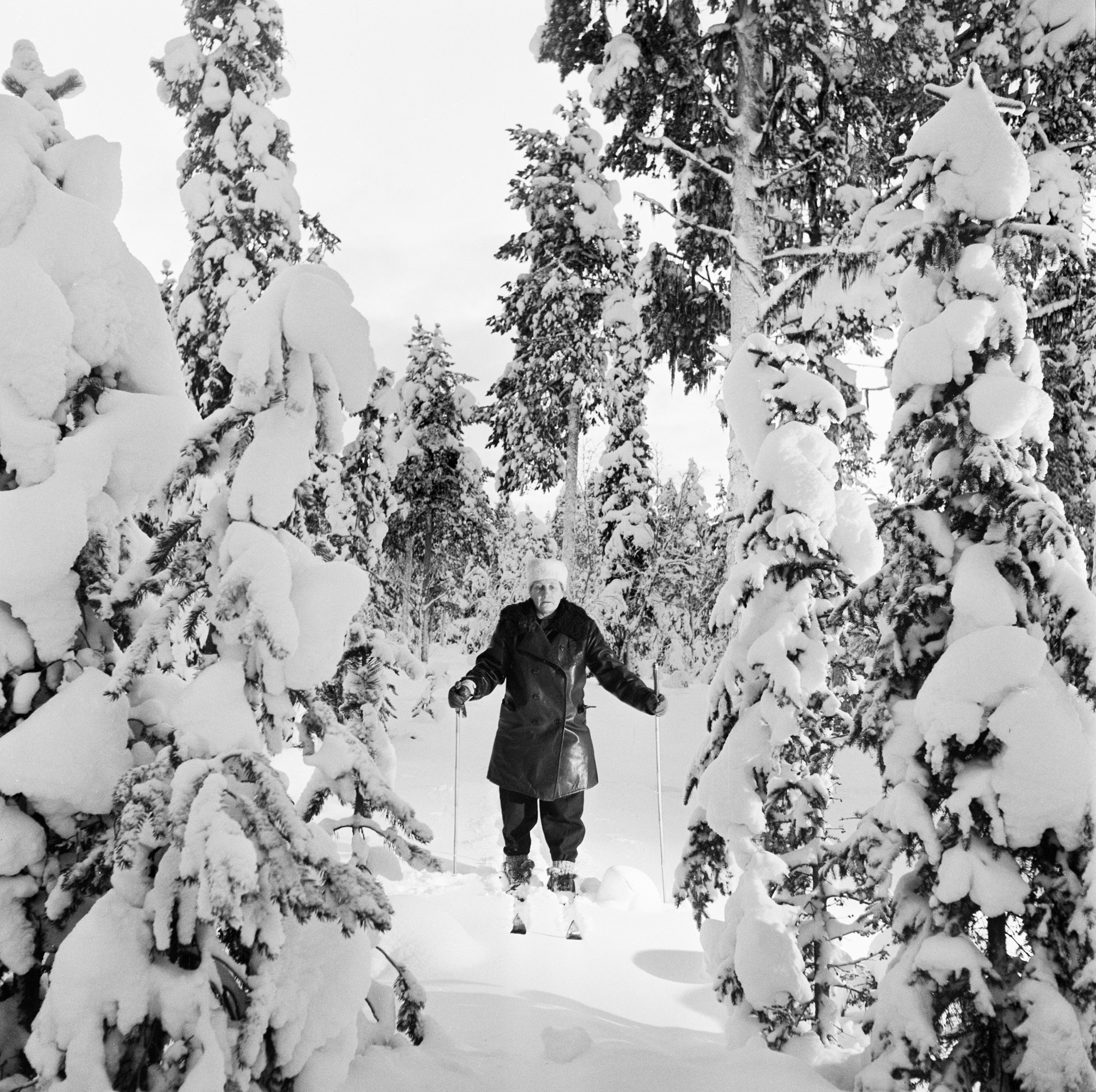 A midwife in Lapland skis to her destination. 1950. Photo: KW Gullers/Nordiska museet
