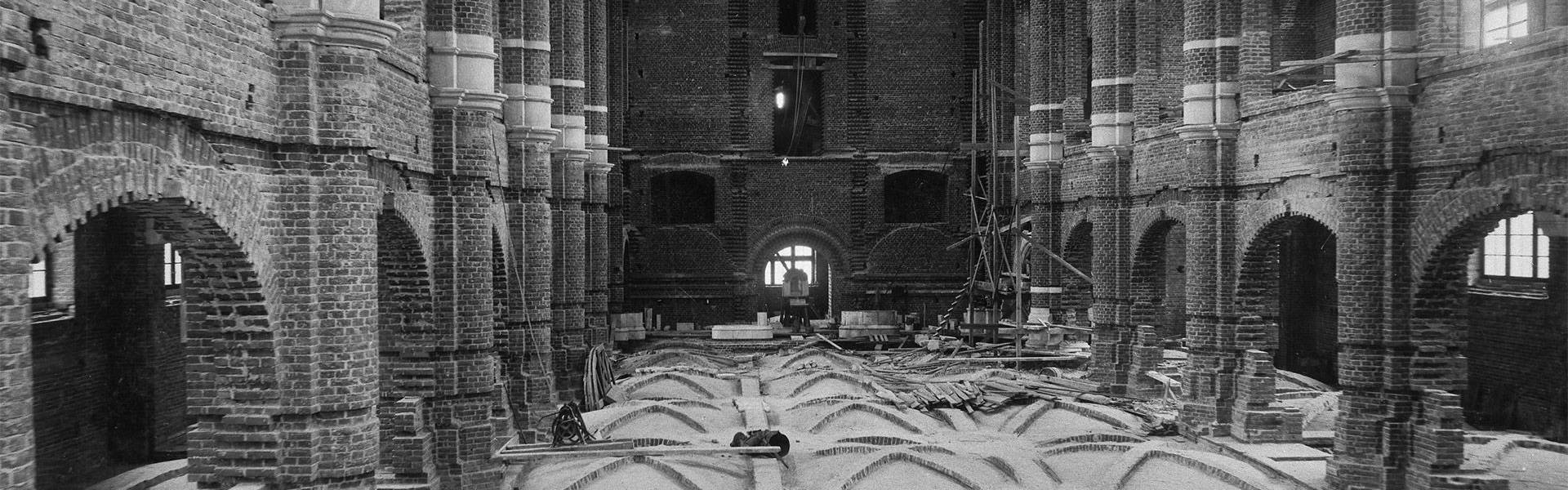 Nordiska museet under uppbyggnad, Stora hallen.