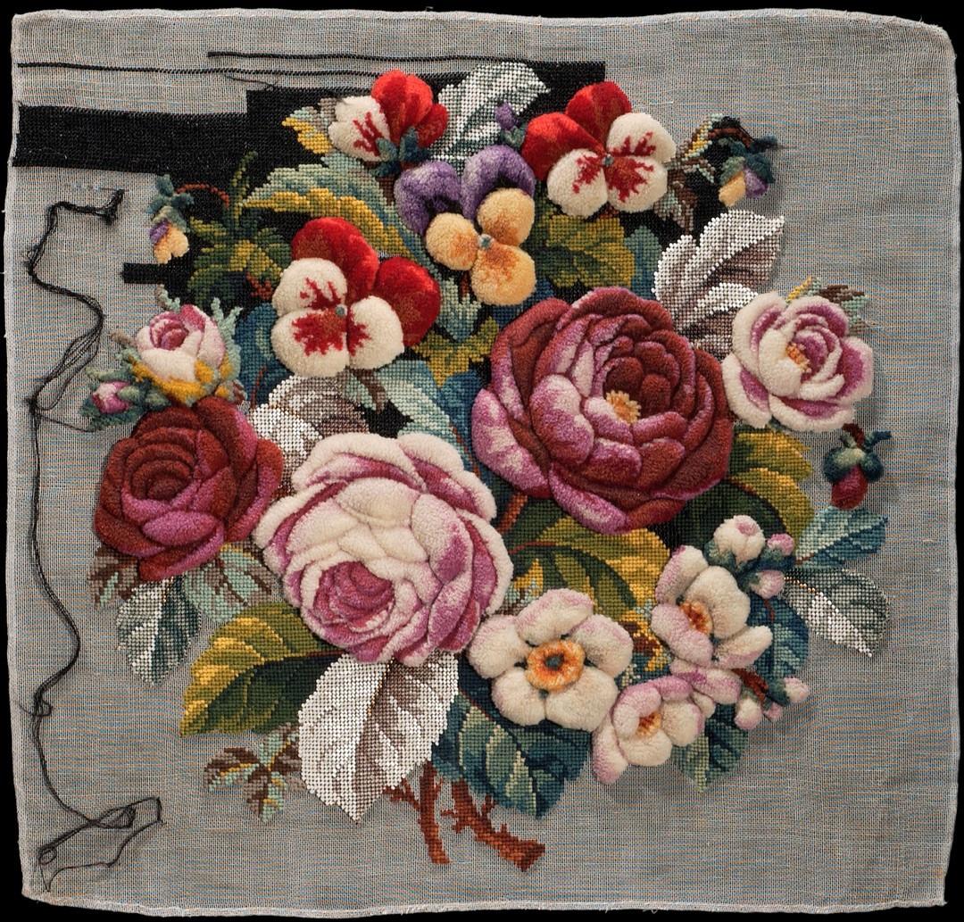 Broderi tillverkat på 1850-60-talet. Foto: Nina Heinz/ Nordiska museet.