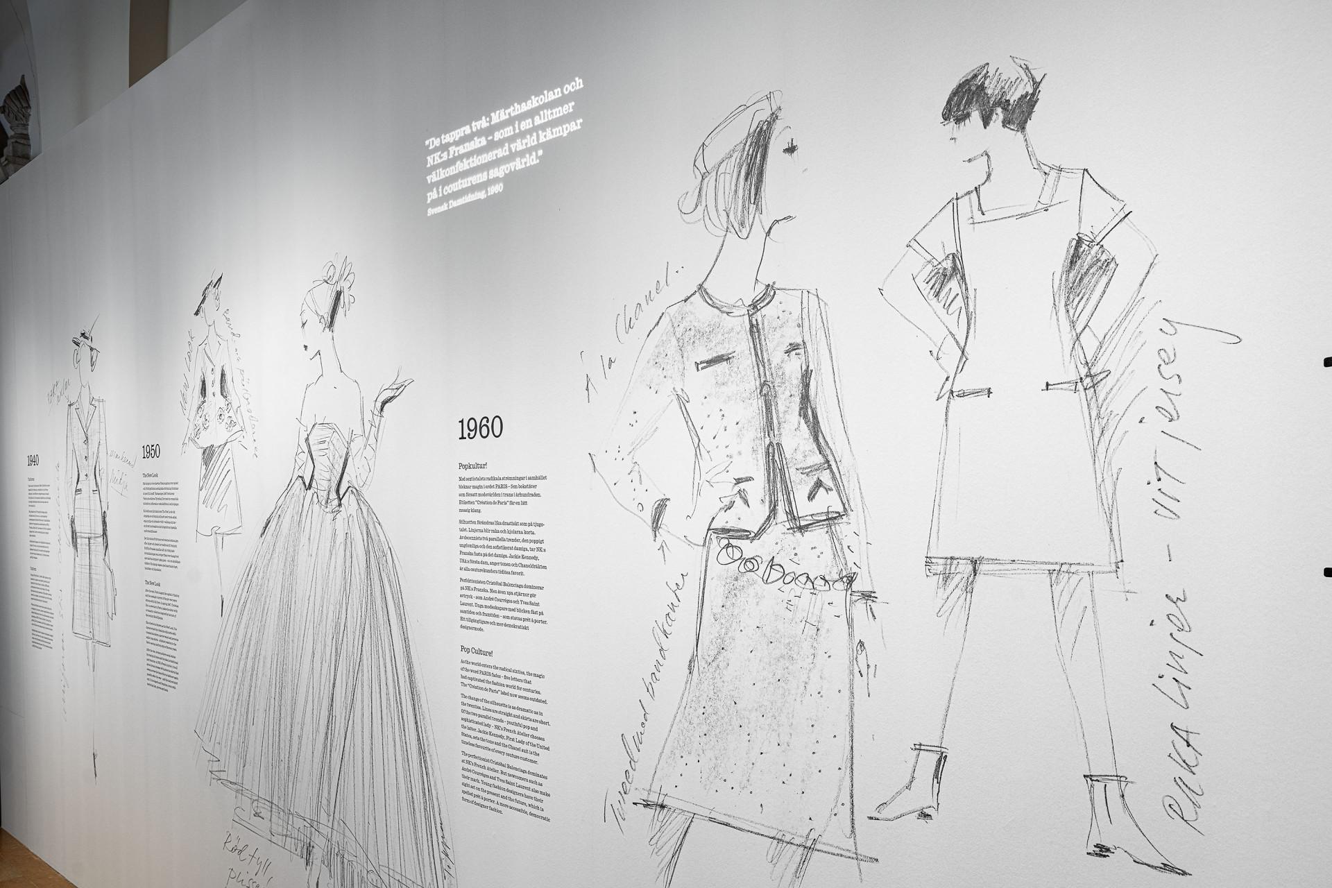 Modeskisser på en vägg