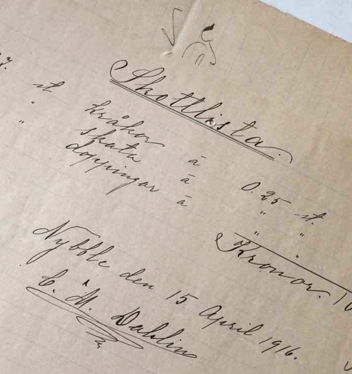 C.M Dahlins skottlista från 1916. Julita gårds arkiv.