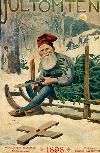 Tidningen Jultomten med illustration av Gerda Tirén, 1898. Källa. Wikimedia Commons.