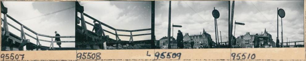 Fotgängare vid Slussen, 1933