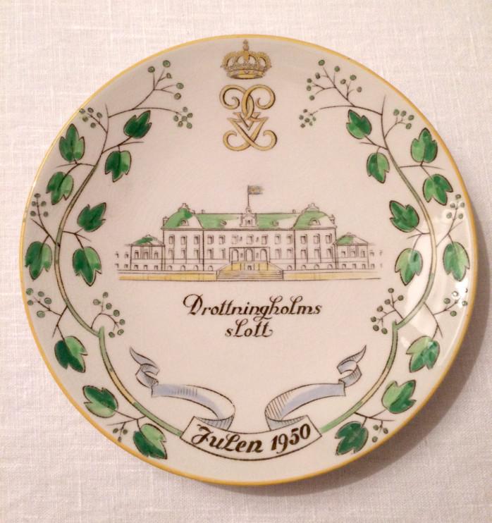 Gefle porslinsfabriks första jultalrik 1950, motiv Drottningsholms slott.
