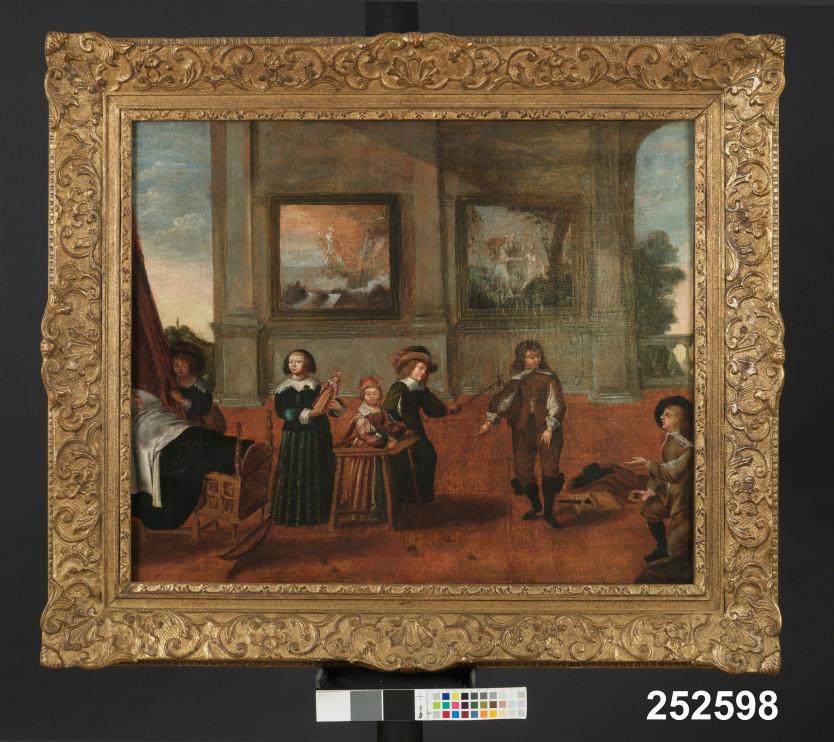 Barnkammare med lekande barn i olika åldrar, Holland, oljemålning av Cornelis de Vos (1584-1651). Foto: Nordiska museet.