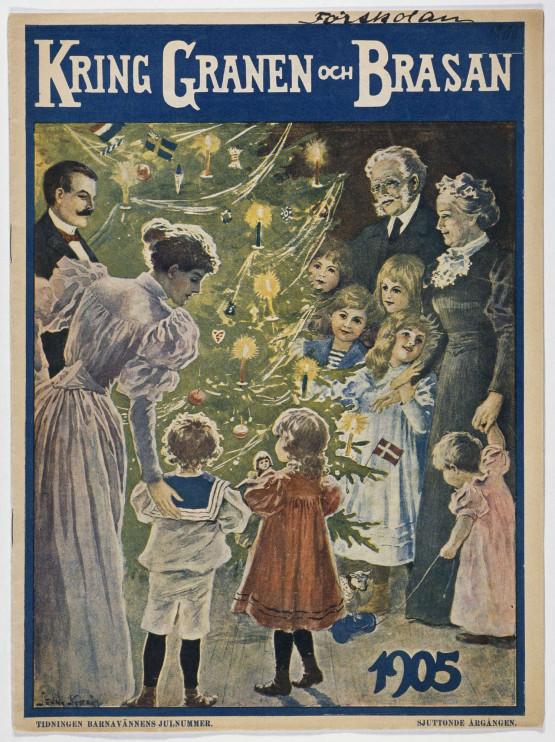 """Granen med sina tända ljus beundras av hela familjen. Tidningen Barnavännens julnummer """"Kring Granen och Brasan"""", 1905. Foto: Nordiska museet."""