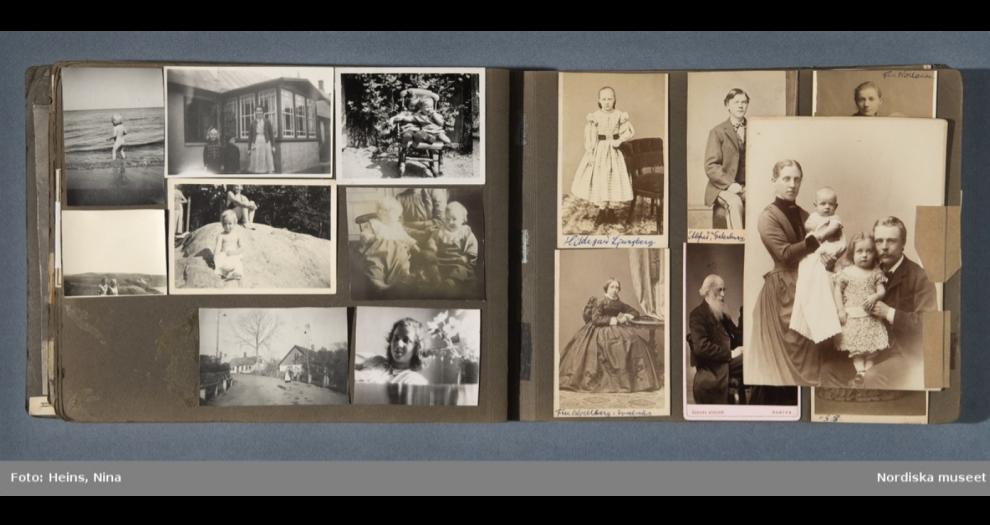 Uppslag ur fotoalbum som tillhört Einar Odhner, Fellingsbro. Fotografier från ca 1870 - ca 1940.Reprofoto: Nina Heins, Nordiska museet. NMA.0053137