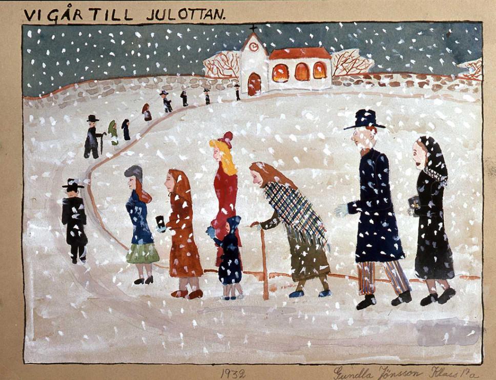 Teckning av Gundla Jönsson, 1932