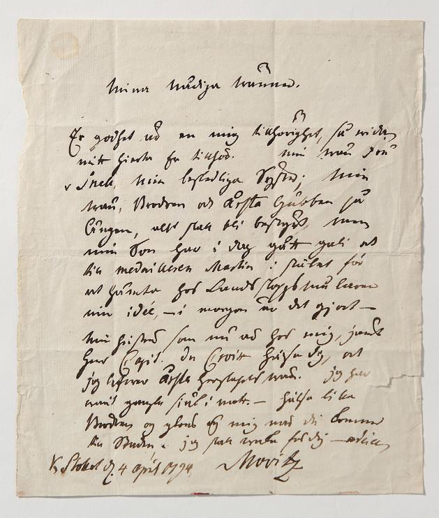 : Brev ur Nordiska museets samlingar. Enligt uppgift från Carl Michael Bellman till Märta Helena Reenstierna, undertecknat 4 april 1794 Movitz. Foto: Nordiska museet.