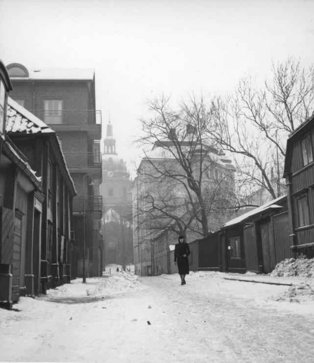 Mäster Mikaels gata, Södermalm, Stockholm. Foto: Studio Gullers, januari 1942