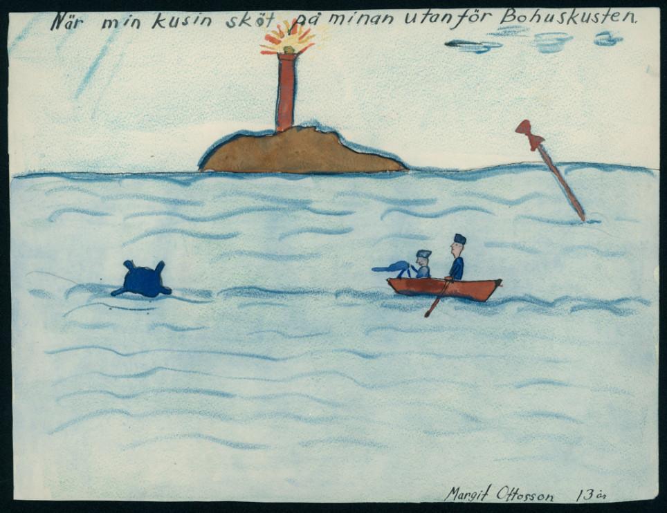 Teckning av Margit Ottosson, 13 år