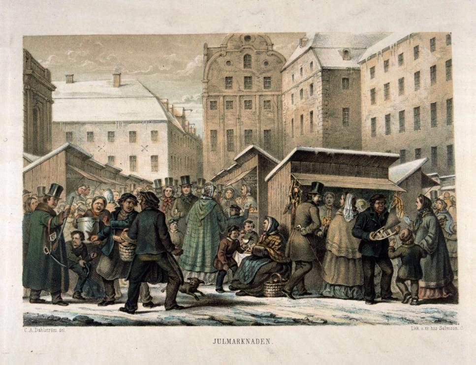 Julmarknad på Stortorget i Stockholm. Litografi av C A Dahlström, trol. 1850-tal.
