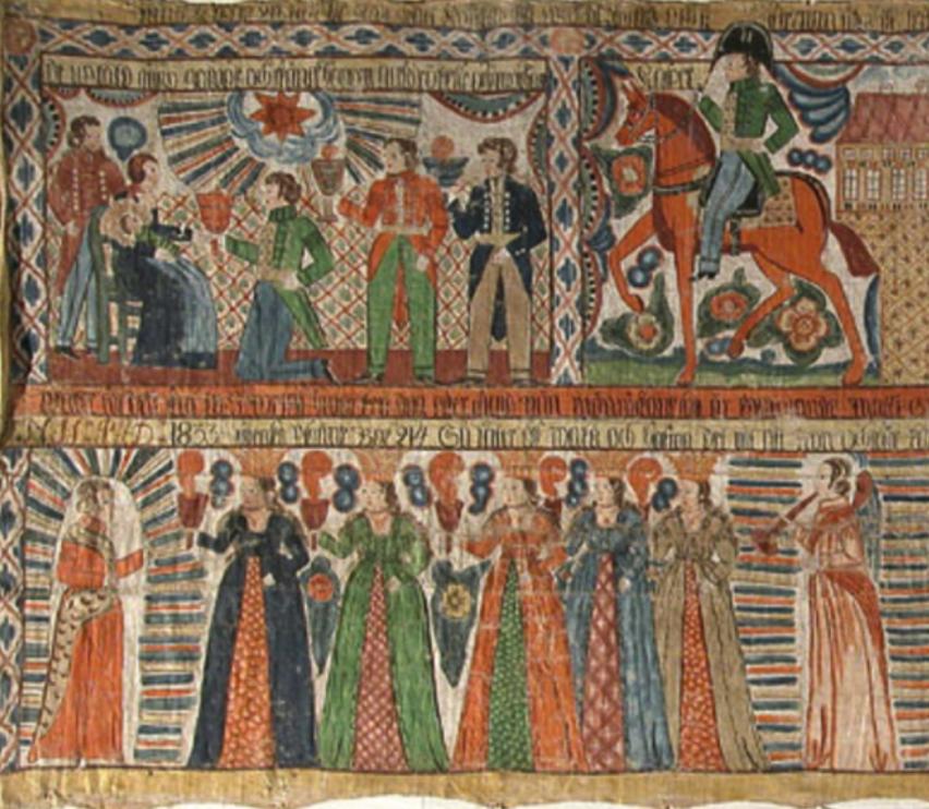 Bonadsmålning från Halland, ca sekelskiftet 1700-1800.