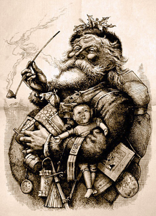 """Merry Old Santa Claus"" av Thomas Nast i Harper's Weekly 1881. Källa: Wikimedia Commons."