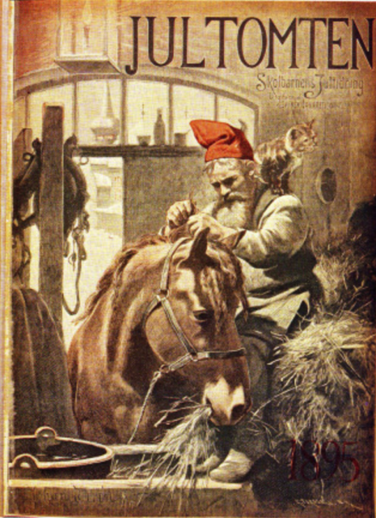 Omslag till tidningen Jultomten, 1895. Källa: Wikimedia Commons.