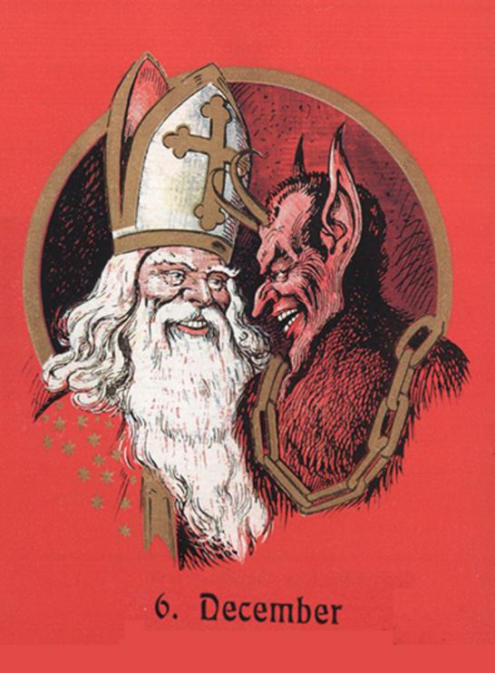 Nicholaus och Krampus. Källa: Wikimedia Commons.