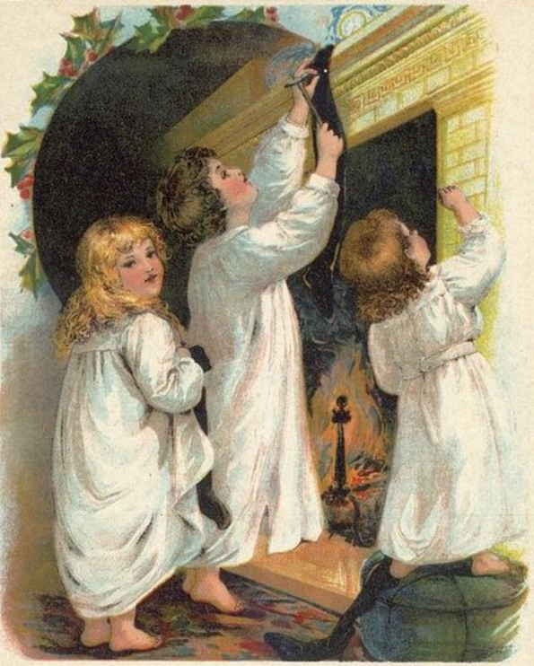 "Illustration till dikten ""The Night Before Christmas"" av den amerikanske författaren och poeten Clement C. Moore, ca 1870. Källa: Wikimedia Commons."