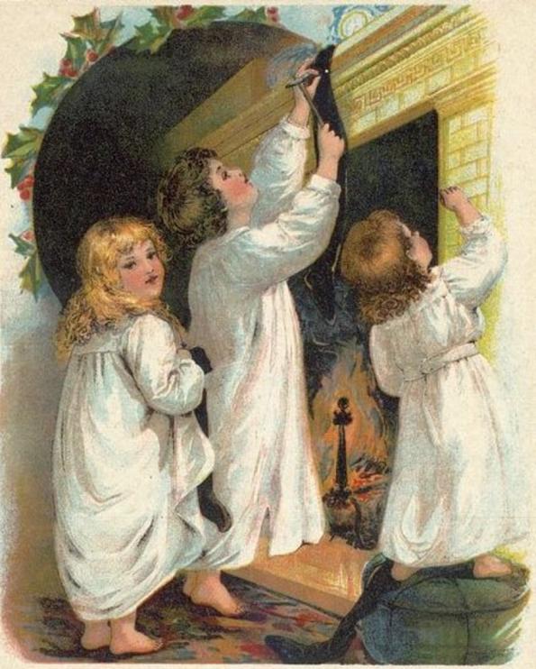 """Illustration till dikten """"The Night Before Christmas"""" av den amerikanske författaren och poeten Clement C. Moore, ca 1870. Källa: Wikimedia Commons."""