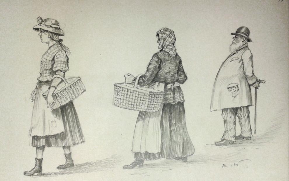 Teckning av Erland Heurlin. Ämnessamlingen, Skissböcker 43.18_1