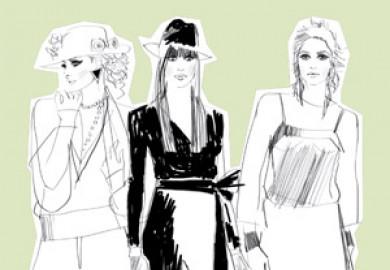 En affisch för Guldknappen som innehåller en illustration med tre kvinnor i olika modedräkter. Illustration: Molly Bartling / NUAgency