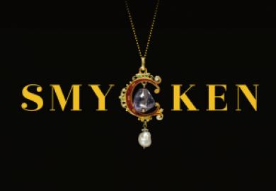 Bild med logotyp för utställningen Smycken, C:et i smycken är ett smycke
