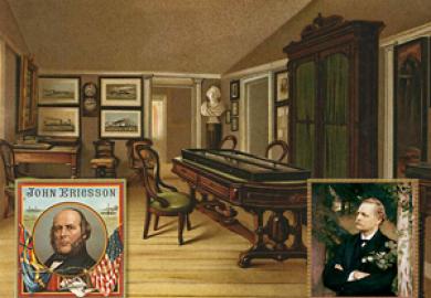 Bild från ett minnesrum för John Ericsson som Artur Hazelius, Nordiska museets grundare skapade.