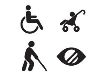 Symboler för rullstolsbunda, barnvagn, synskadade och personer med nedsatt syn