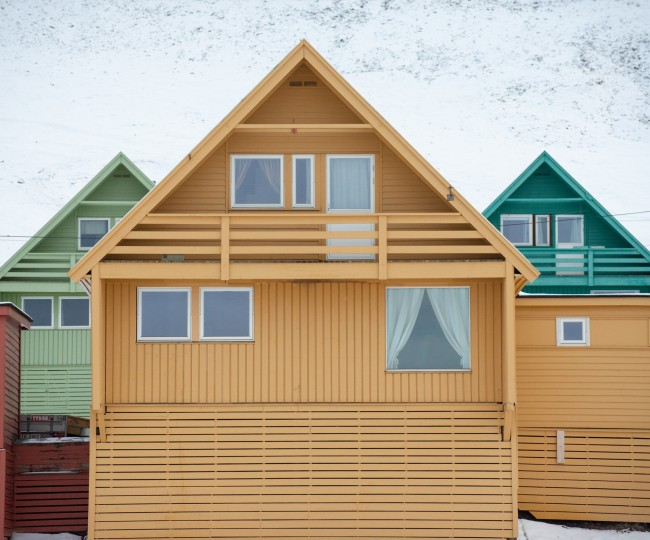 Colourful houses in Longyearbyen, Svalbard.