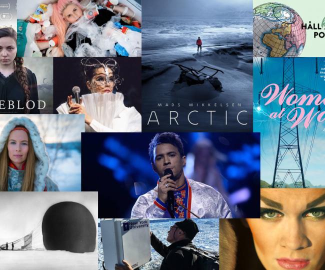 Collage med massa olika bilder från filmer, böcker och podcasts