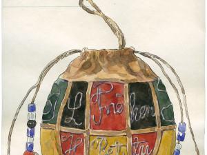 Föremål 91023 ur Nordiska museets samlingar, Pung. Alla föremål i samlingarna har ett katalogkort. I utställningen Sápmi visas de samiska katalogkorten, 6000 st. Foto: Nordiska museet.