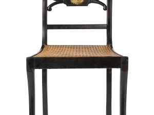 Ca 1830. Svartlackerad björk med rottingsits. Så kallad Trafalgar chair efter engelsk förlaga. Foto: Peter Segemark, Nordiska museet.
