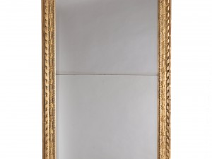 Spegel signerad av Niclas Meunier, daterad 1788. Har tillhört Johan Tobias Sergel. Foto: Peter Segemark, Nordiska museet.