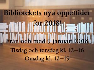 Information om Nordiska museets biblioteks nya öppettider för 2018